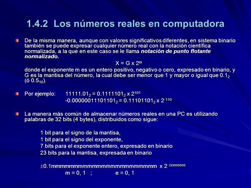 1.4.2 Los números reales en computadora De la misma manera, aunque con valores significativos diferentes, en sistema binario también se puede expresar