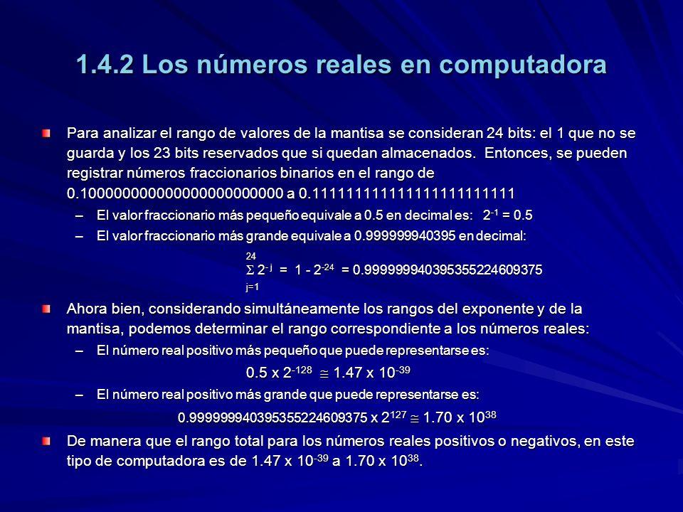 1.4.2 Los números reales en computadora Para analizar el rango de valores de la mantisa se consideran 24 bits: el 1 que no se guarda y los 23 bits res