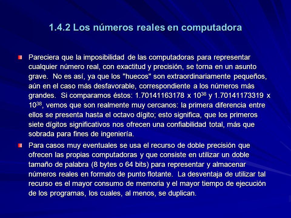 1.4.2 Los números reales en computadora Pareciera que la imposibilidad de las computadoras para representar cualquier número real, con exactitud y pre