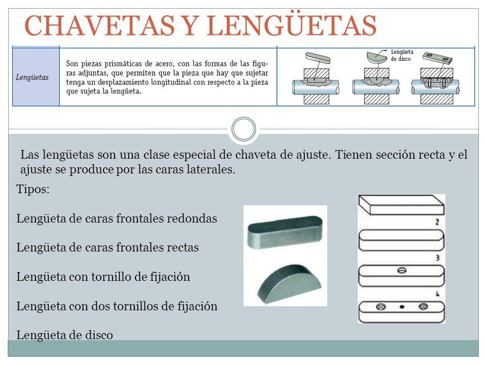 CHAVETAS Y LENGÜETAS Las lengüetas son una clase especial de chaveta de ajuste. Tienen sección recta y el ajuste se produce por las caras laterales. T