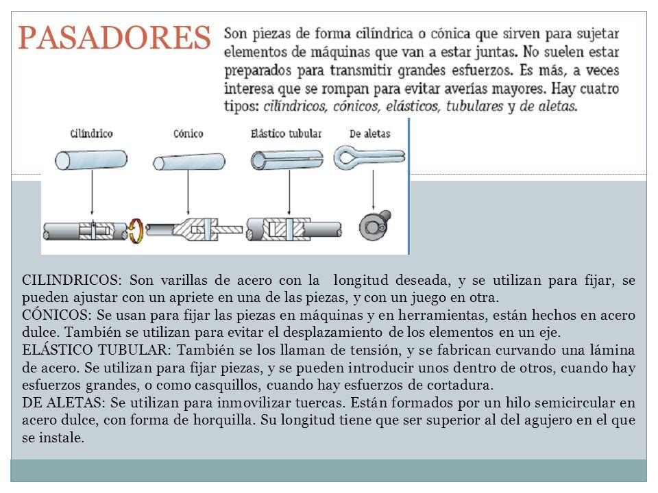 PASADORES CILINDRICOS: Son varillas de acero con la longitud deseada, y se utilizan para fijar, se pueden ajustar con un apriete en una de las piezas,