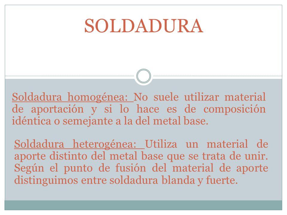 SOLDADURA Soldadura homogénea: No suele utilizar material de aportación y si lo hace es de composición idéntica o semejante a la del metal base. Solda