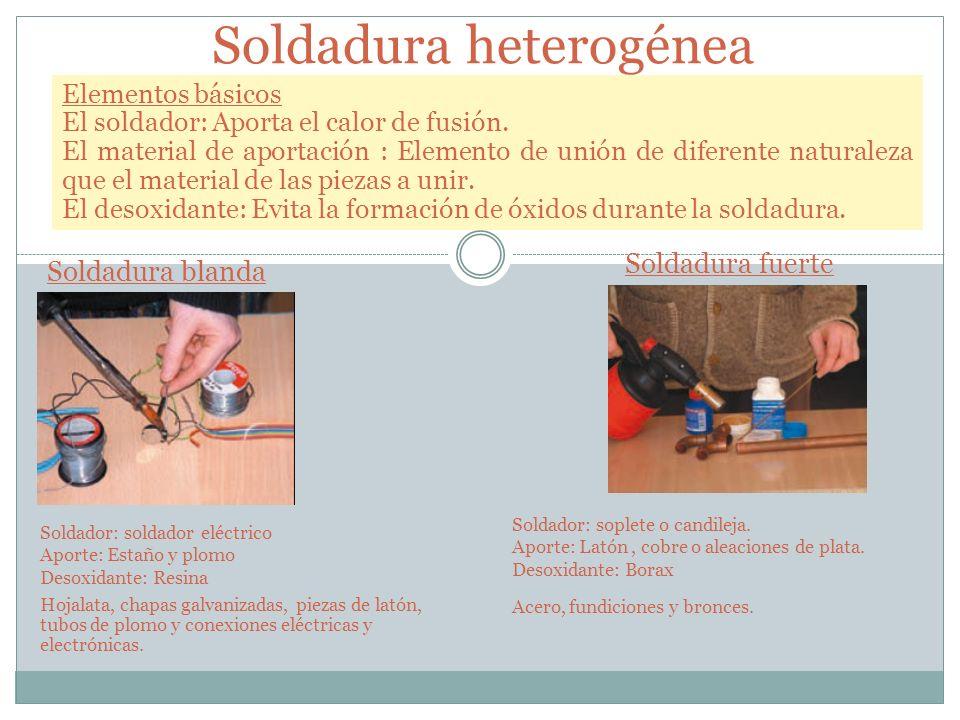 Soldadura heterogénea Elementos básicos El soldador: Aporta el calor de fusión. El material de aportación : Elemento de unión de diferente naturaleza