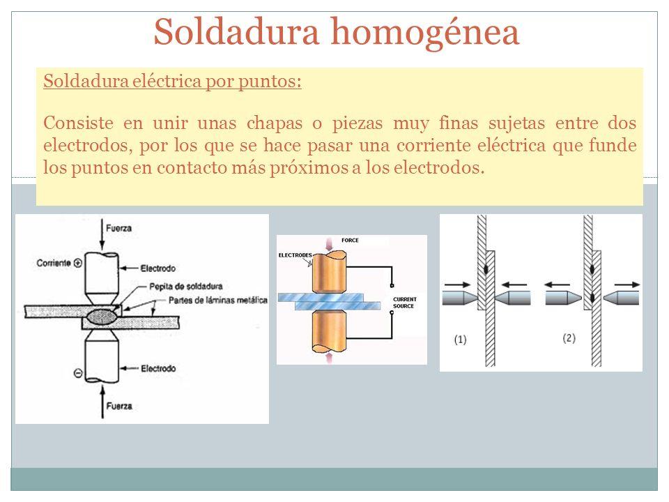 Soldadura homogénea Soldadura eléctrica por puntos: Consiste en unir unas chapas o piezas muy finas sujetas entre dos electrodos, por los que se hace