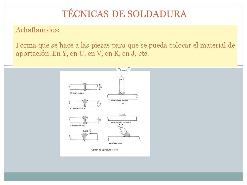 TÉCNICAS DE SOLDADURA Achaflanados: Forma que se hace a las piezas para que se pueda colocar el material de aportación. En Y, en U, en V, en K, en J,