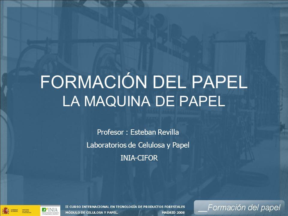 FORMACIÓN DEL PAPEL LA MAQUINA DE PAPEL Profesor : Esteban Revilla Laboratorios de Celulosa y Papel INIA-CIFOR