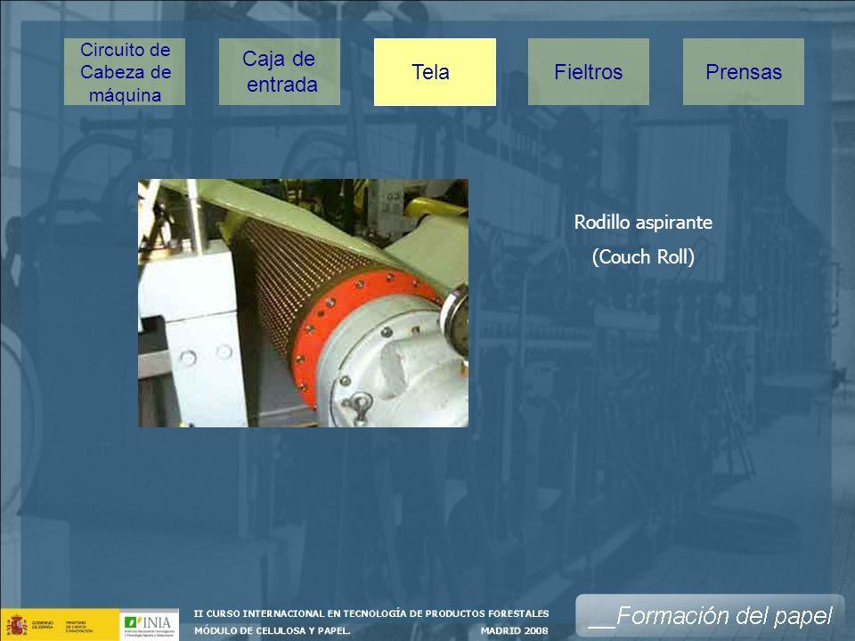 Rodillo aspirante (Couch Roll) Caja de entrada Tela PrensasFieltros Circuito de Cabeza de máquina