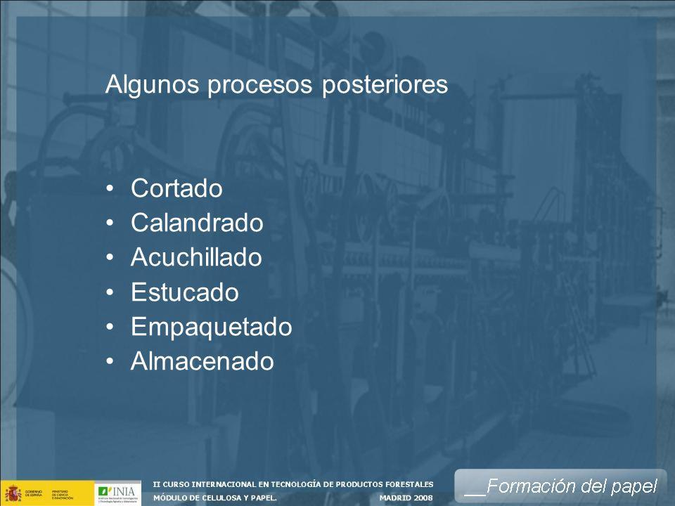 Algunos procesos posteriores Cortado Calandrado Acuchillado Estucado Empaquetado Almacenado