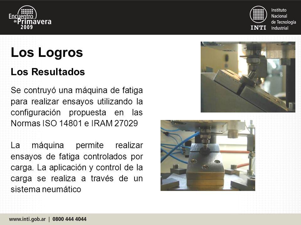 Los Logros Los Resultados Se contruyó una máquina de fatiga para realizar ensayos utilizando la configuración propuesta en las Normas ISO 14801 e IRAM