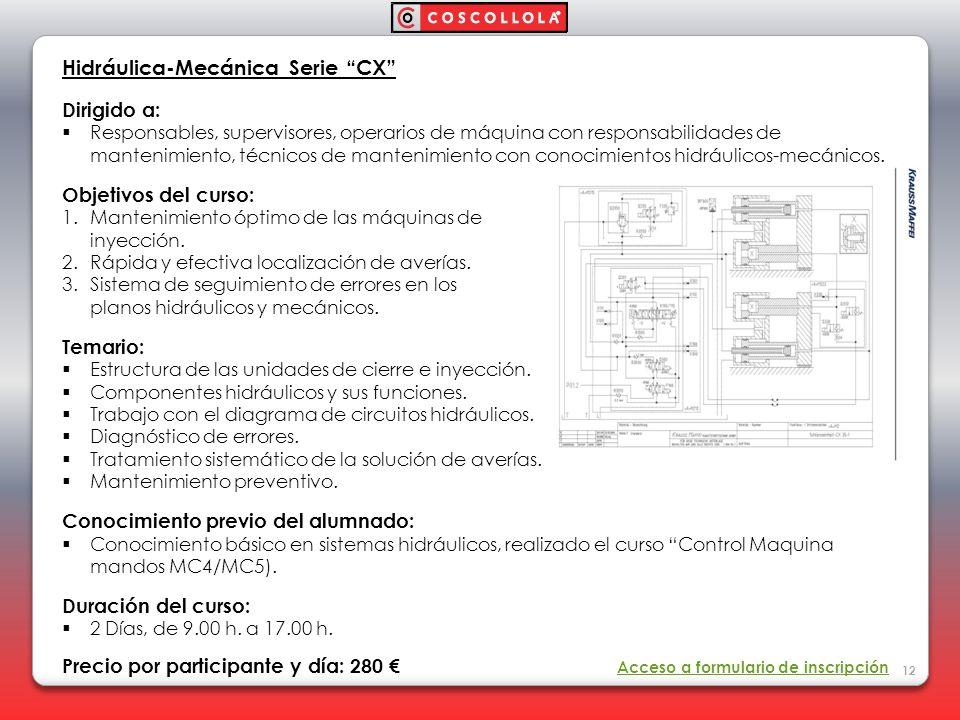 Hidráulica-Mecánica Serie CX Dirigido a: Responsables, supervisores, operarios de máquina con responsabilidades de mantenimiento, técnicos de mantenim
