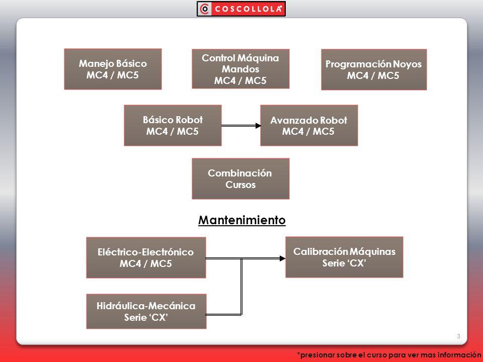 Manejo Básico MC4 / MC5 Control Máquina Mandos MC4 / MC5 Básico Robot MC4 / MC5 Combinación Cursos Programación Noyos MC4 / MC5 Avanzado Robot MC4 / M