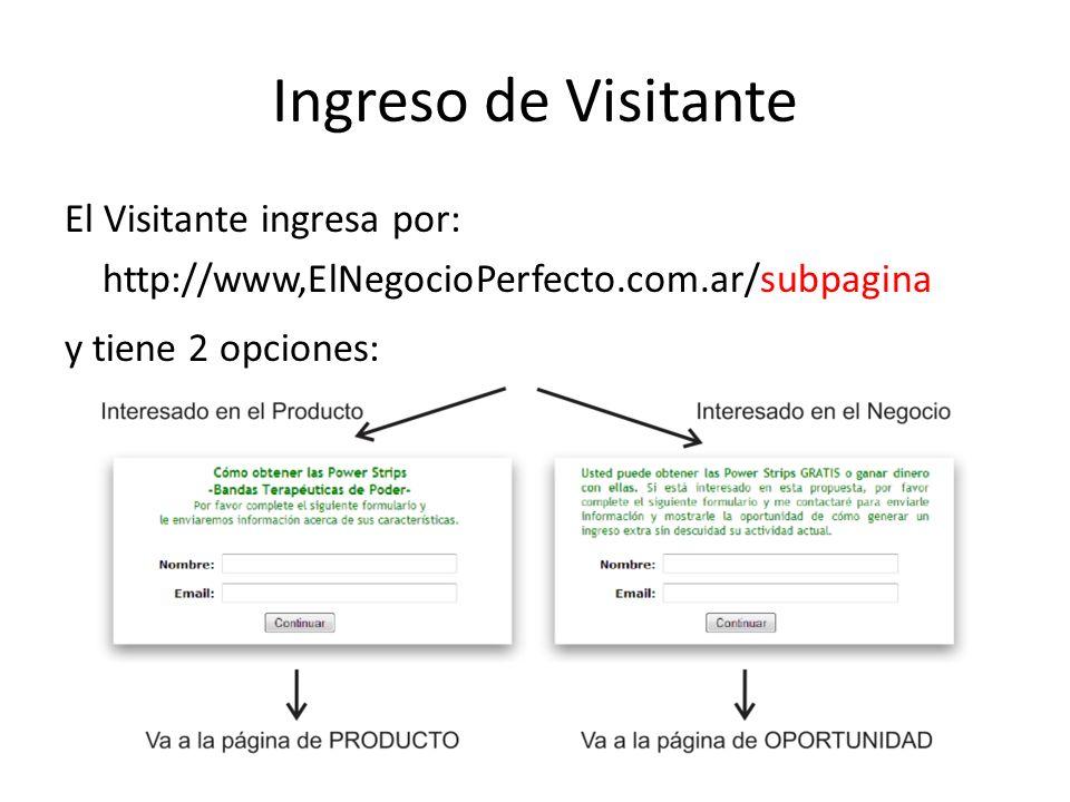 Ingreso de Visitante El Visitante ingresa por: http://www,ElNegocioPerfecto.com.ar/subpagina y tiene 2 opciones: