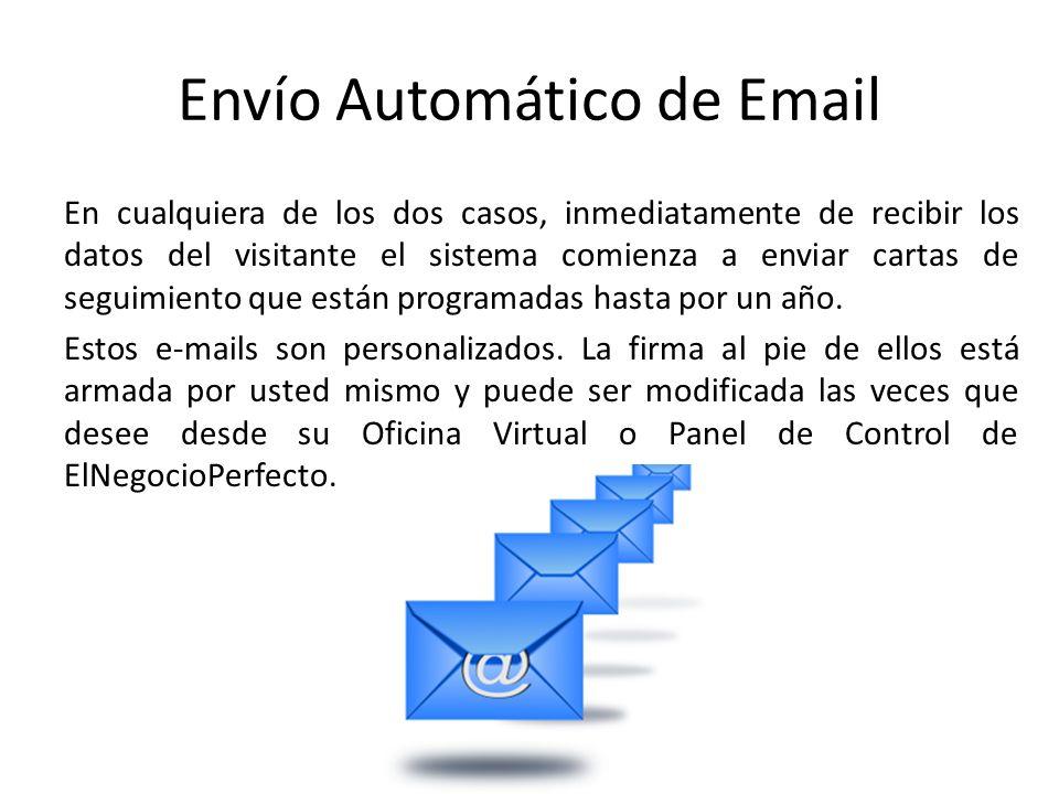 Envío Automático de Email En cualquiera de los dos casos, inmediatamente de recibir los datos del visitante el sistema comienza a enviar cartas de seguimiento que están programadas hasta por un año.
