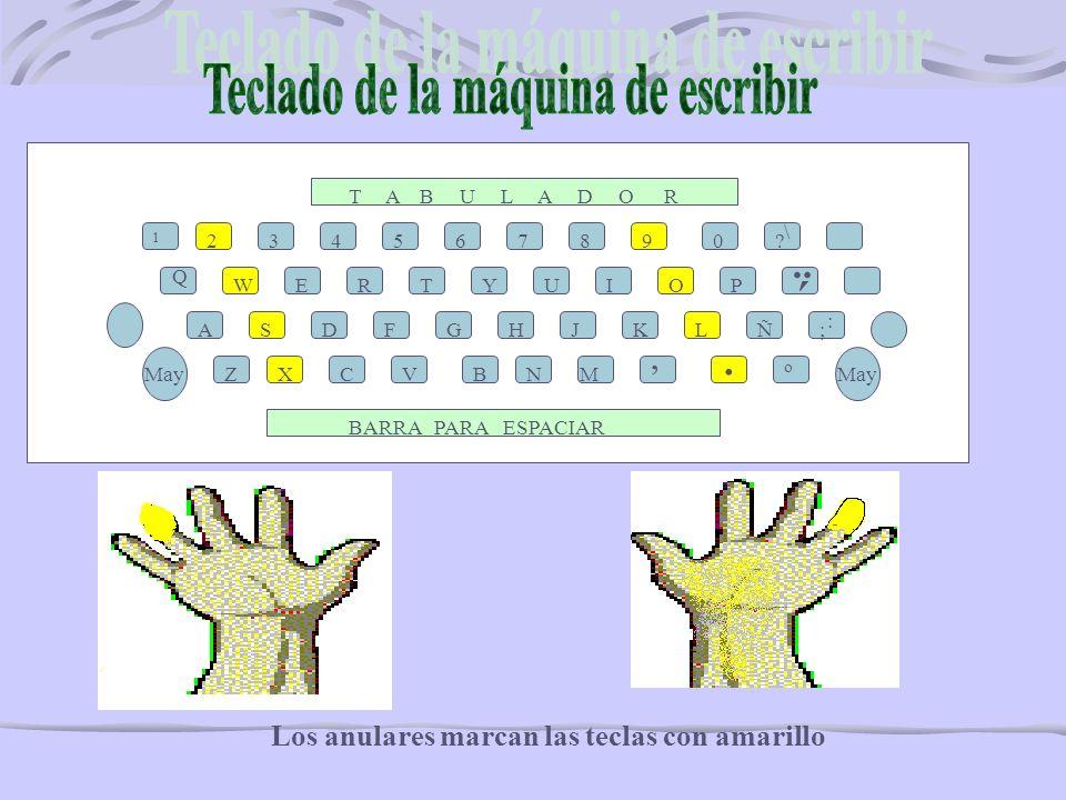 1 3456890? \ Q WERTYUIOP ASDFGHJKL ZXCVNM,. Ñ; : May o 7 BARRA PARA ESPACIAR T A B U L A D O R ´ ¨ B Recuerda los dedos cordiales también llamados med