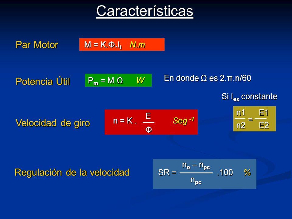 Características Par Motor M = K.Φ.I i N.m M = K.Φ.I i N.m Potencia Útil P m = M.Ω W Velocidad de giro Regulación de la velocidad SR =.100 % n o – n pc