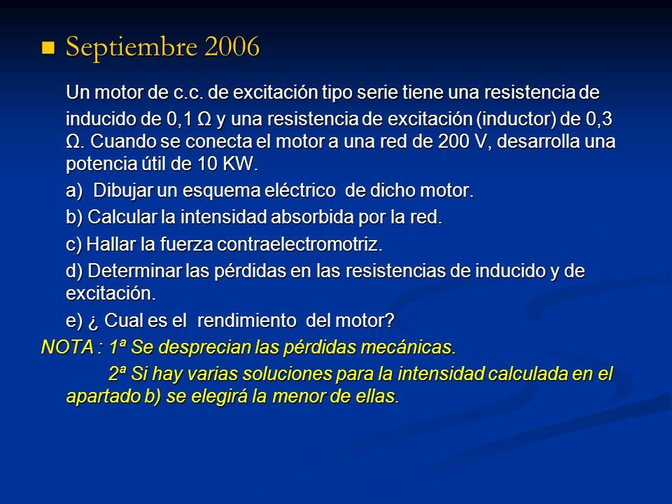 Septiembre 2006 Septiembre 2006 Un motor de c.c. de excitación tipo serie tiene una resistencia de inducido de 0,1 Ω y una resistencia de excitación (