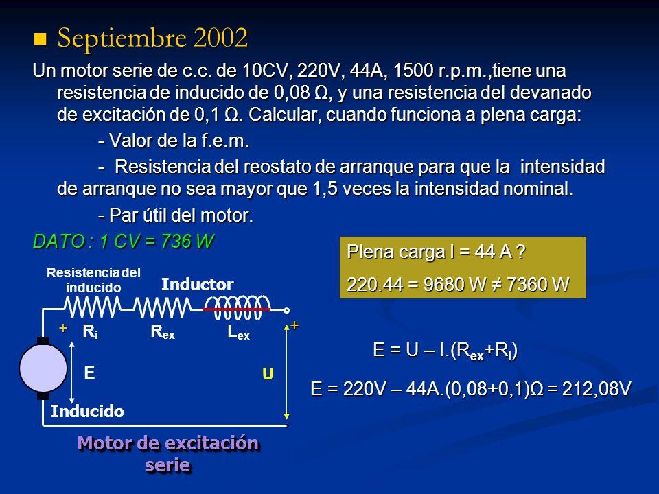 Septiembre 2002 Septiembre 2002 Un motor serie de c.c. de 10CV, 220V, 44A, 1500 r.p.m.,tiene una resistencia de inducido de 0,08 Ω, y una resistencia