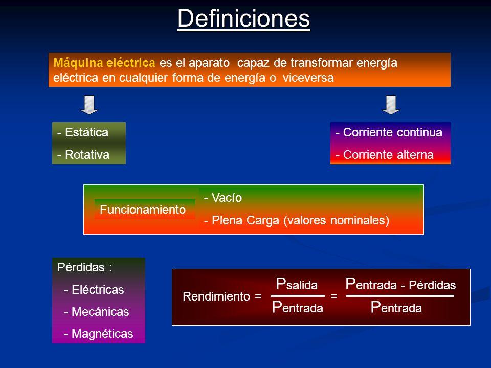 Máquina eléctrica es el aparato capaz de transformar energía eléctrica en cualquier forma de energía o viceversaDefiniciones - - Estática - - Rotativa