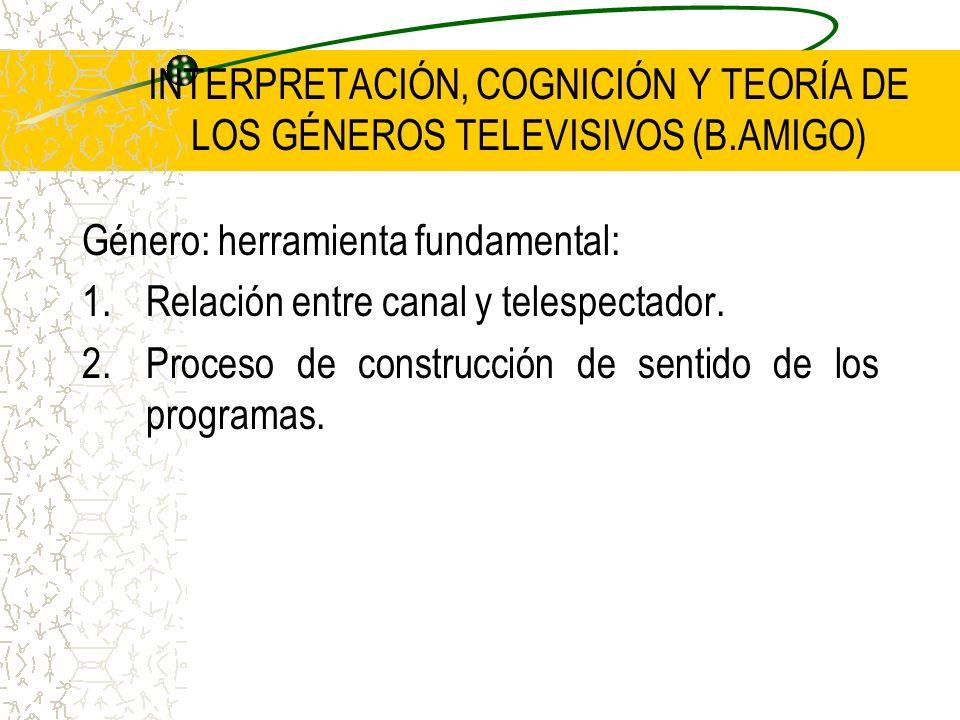 INTERPRETACIÓN, COGNICIÓN Y TEORÍA DE LOS GÉNEROS TELEVISIVOS (B.AMIGO) Género: herramienta fundamental: 1.Relación entre canal y telespectador. 2.Pro