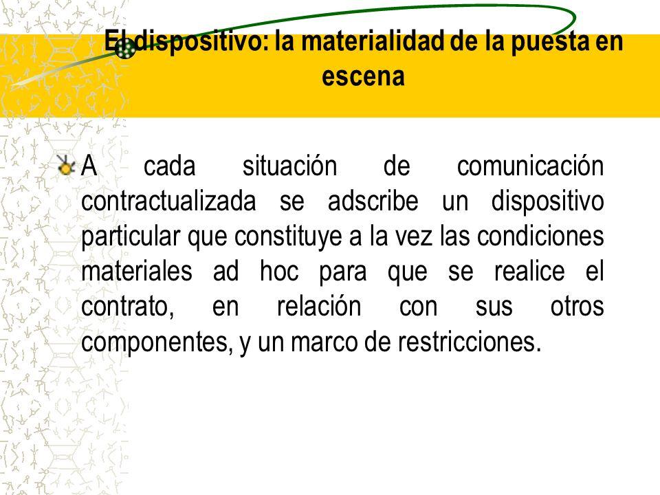 El dispositivo: la materialidad de la puesta en escena A cada situación de comunicación contractualizada se adscribe un dispositivo particular que con