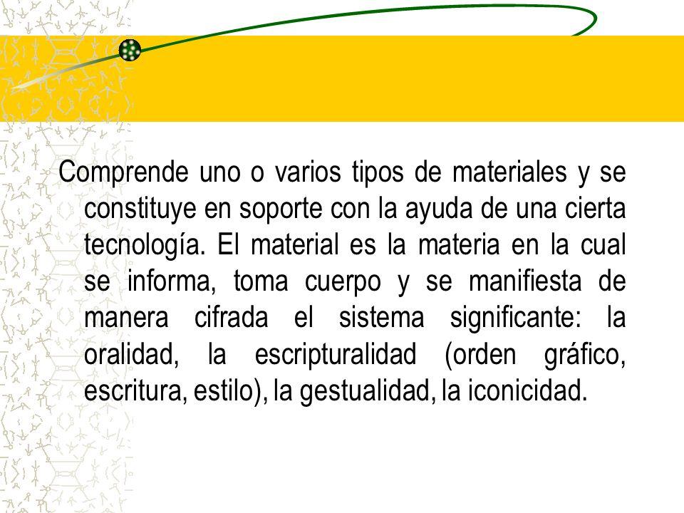 Comprende uno o varios tipos de materiales y se constituye en soporte con la ayuda de una cierta tecnología. El material es la materia en la cual se i