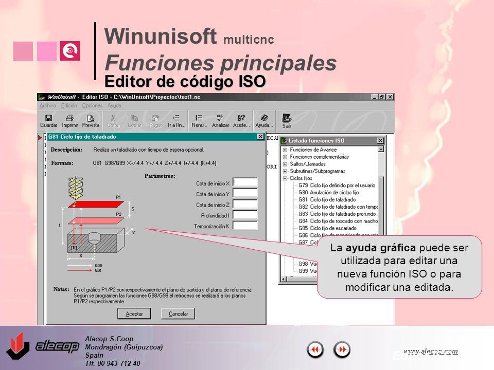 Alecop S.Coop Mondragón (Guipuzcoa) Spain Tlf. 00 943 712 40 www.alecop.com La ayuda gráfica puede ser utilizada para editar una nueva función ISO o p
