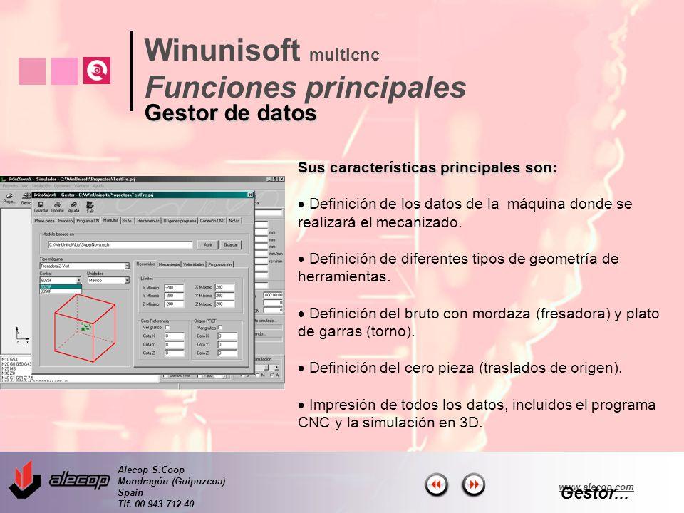 Alecop S.Coop Mondragón (Guipuzcoa) Spain Tlf. 00 943 712 40 www.alecop.com Sus características principales son: Definición de los datos de la máquina