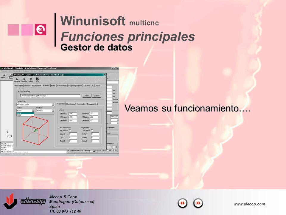 Alecop S.Coop Mondragón (Guipuzcoa) Spain Tlf. 00 943 712 40 www.alecop.com Veamos su funcionamiento…. Winunisoft multicnc Funciones principales Gesto