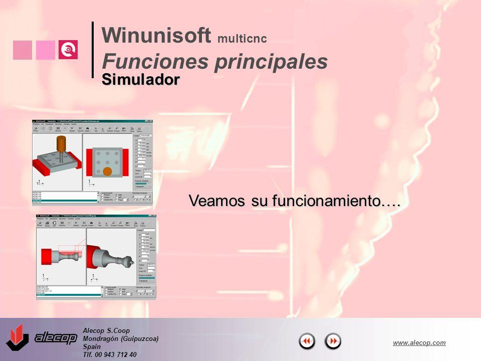 Alecop S.Coop Mondragón (Guipuzcoa) Spain Tlf. 00 943 712 40 www.alecop.com Veamos su funcionamiento…. Winunisoft multicnc Funciones principales Simul