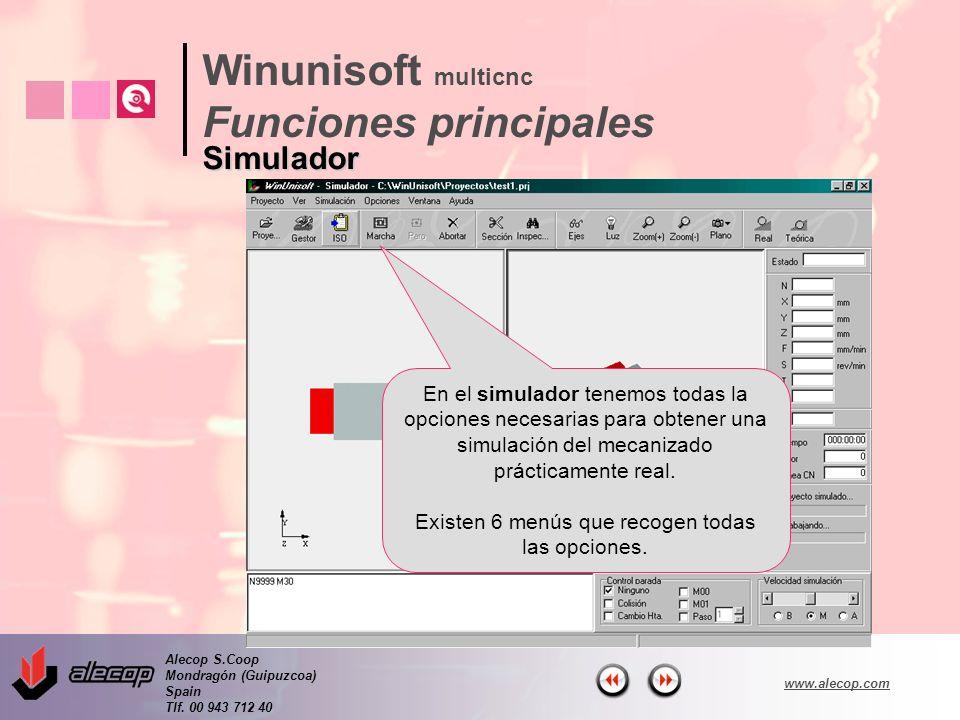 Alecop S.Coop Mondragón (Guipuzcoa) Spain Tlf. 00 943 712 40 www.alecop.com En el simulador tenemos todas la opciones necesarias para obtener una simu