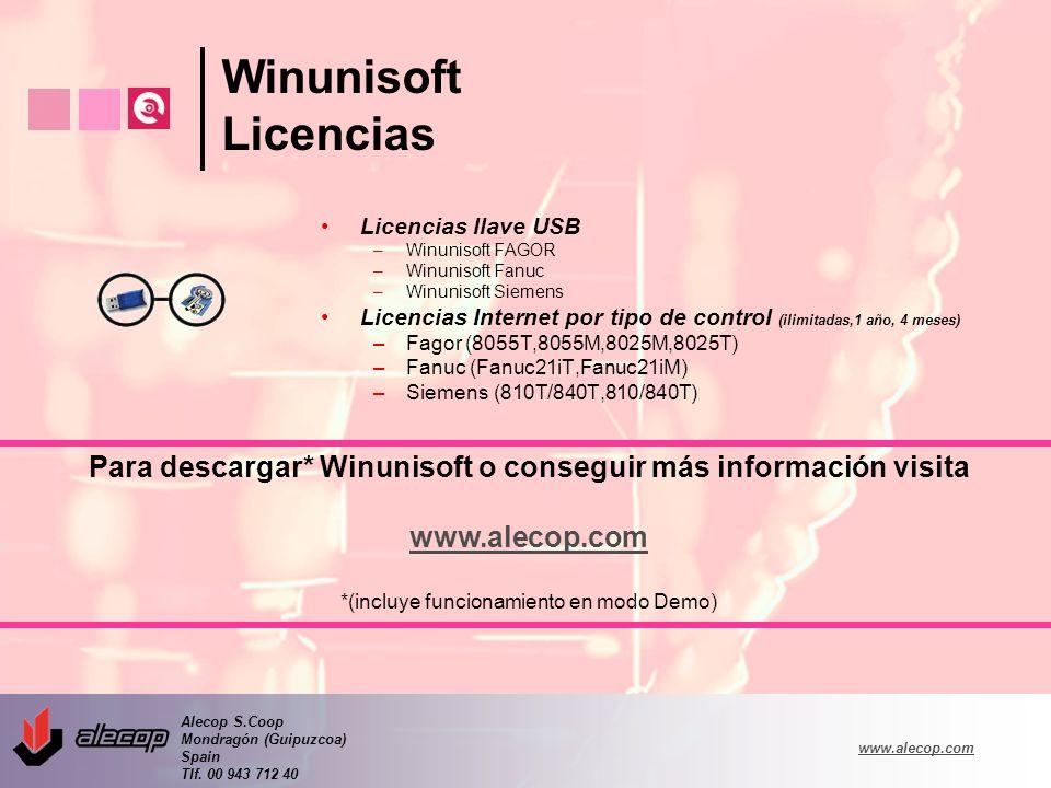 Alecop S.Coop Mondragón (Guipuzcoa) Spain Tlf. 00 943 712 40 www.alecop.com Winunisoft Licencias Licencias llave USB –Winunisoft FAGOR –Winunisoft Fan