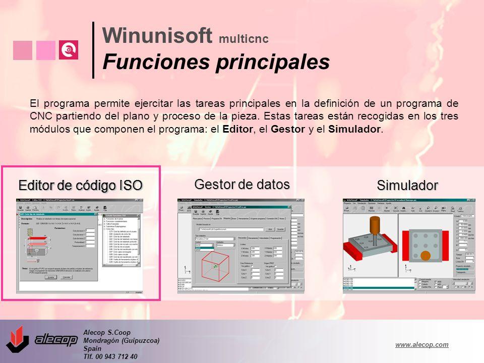 Alecop S.Coop Mondragón (Guipuzcoa) Spain Tlf. 00 943 712 40 www.alecop.com El programa permite ejercitar las tareas principales en la definición de u