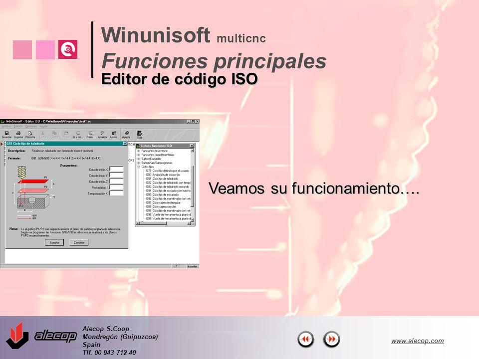 Alecop S.Coop Mondragón (Guipuzcoa) Spain Tlf. 00 943 712 40 www.alecop.com Veamos su funcionamiento…. Winunisoft multicnc Funciones principales Edito