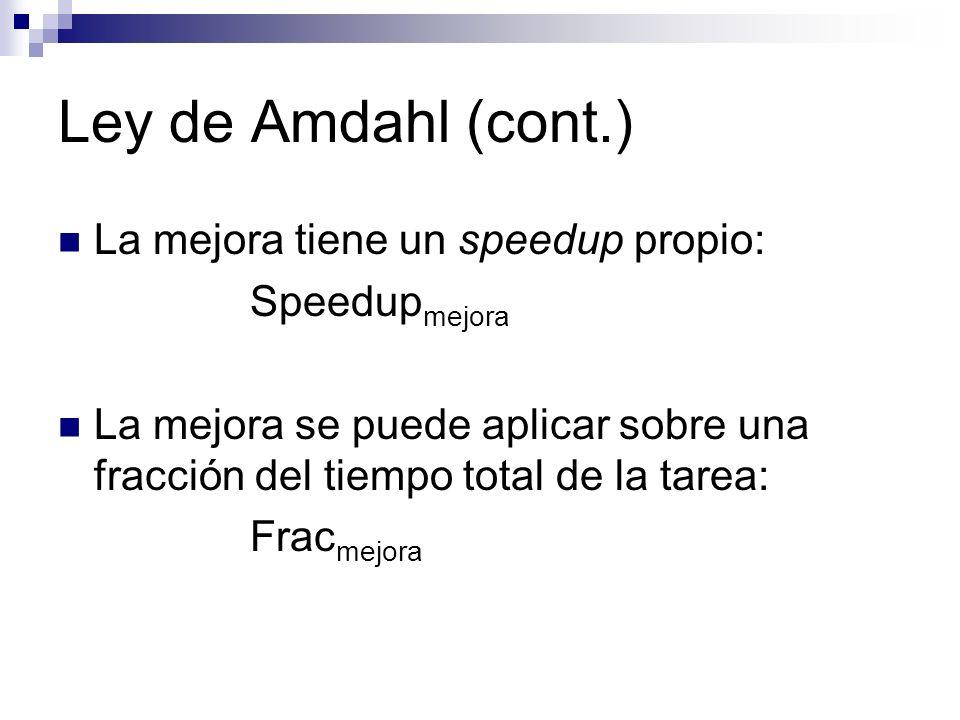 Ley de Amdahl (cont.) La mejora tiene un speedup propio: Speedup mejora La mejora se puede aplicar sobre una fracción del tiempo total de la tarea: Fr