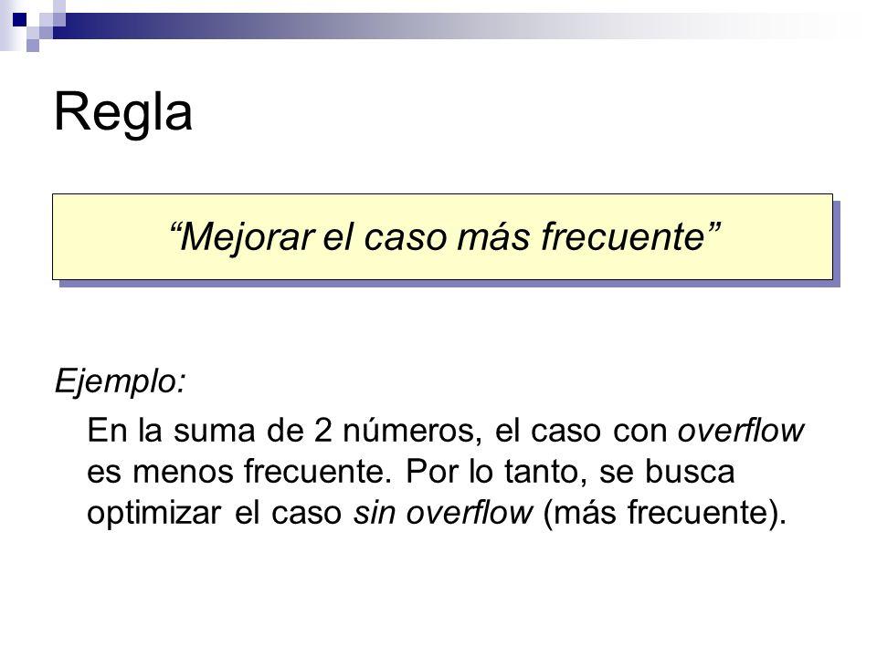 Regla Ejemplo: En la suma de 2 números, el caso con overflow es menos frecuente. Por lo tanto, se busca optimizar el caso sin overflow (más frecuente)