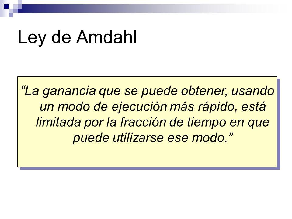Ley de Amdahl La ganancia que se puede obtener, usando un modo de ejecución más rápido, está limitada por la fracción de tiempo en que puede utilizars