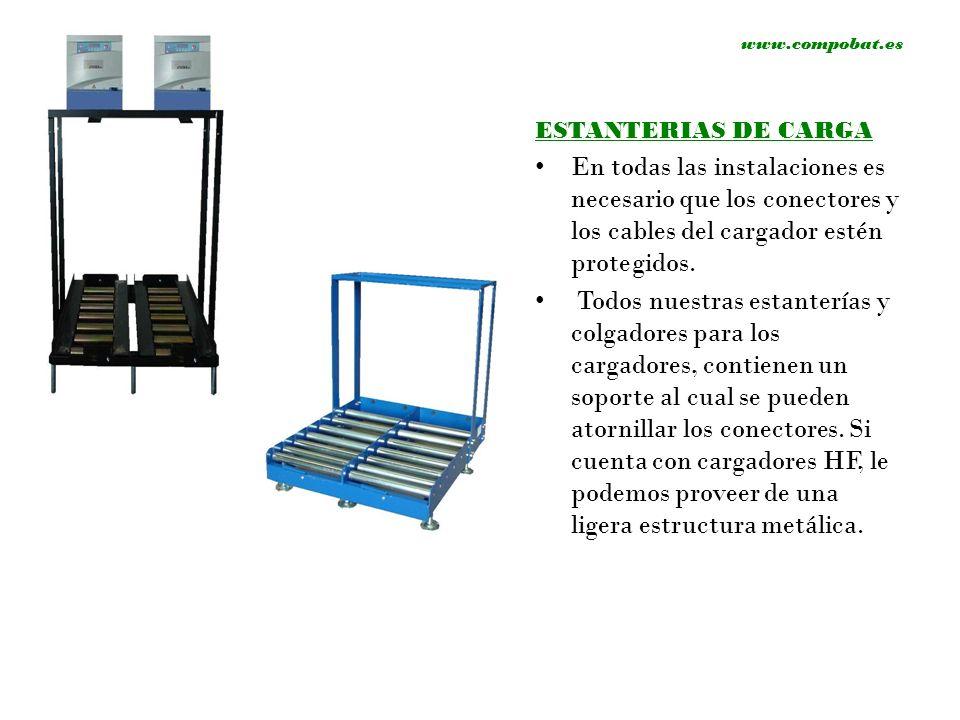 ESTANTERIAS DE CARGA En todas las instalaciones es necesario que los conectores y los cables del cargador estén protegidos. Todos nuestras estanterías