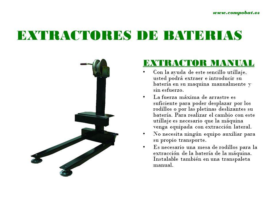 www.compobat.es EXTRACTOR SEMI-AUTOMATICO Con la ayuda de este sencillo utillaje, usted podrá extraer e introducir su batería en su maquina, semi-automaticamente y sin esfuerzo.