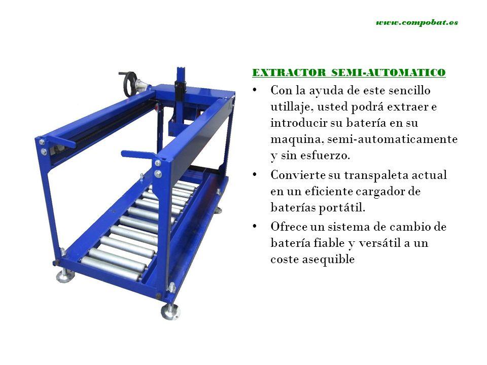 www.compobat.es EXTRACTOR SEMI-AUTOMATICO Con la ayuda de este sencillo utillaje, usted podrá extraer e introducir su batería en su maquina, semi-auto