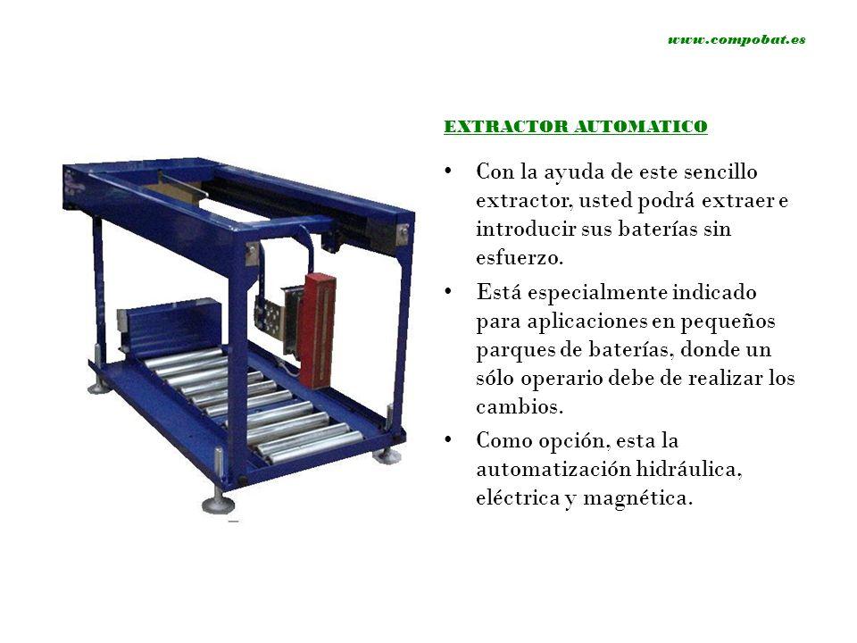 www.compobat.es EXTRACTOR AUTOMATICO Con la ayuda de este sencillo extractor, usted podrá extraer e introducir sus baterías sin esfuerzo. Está especia
