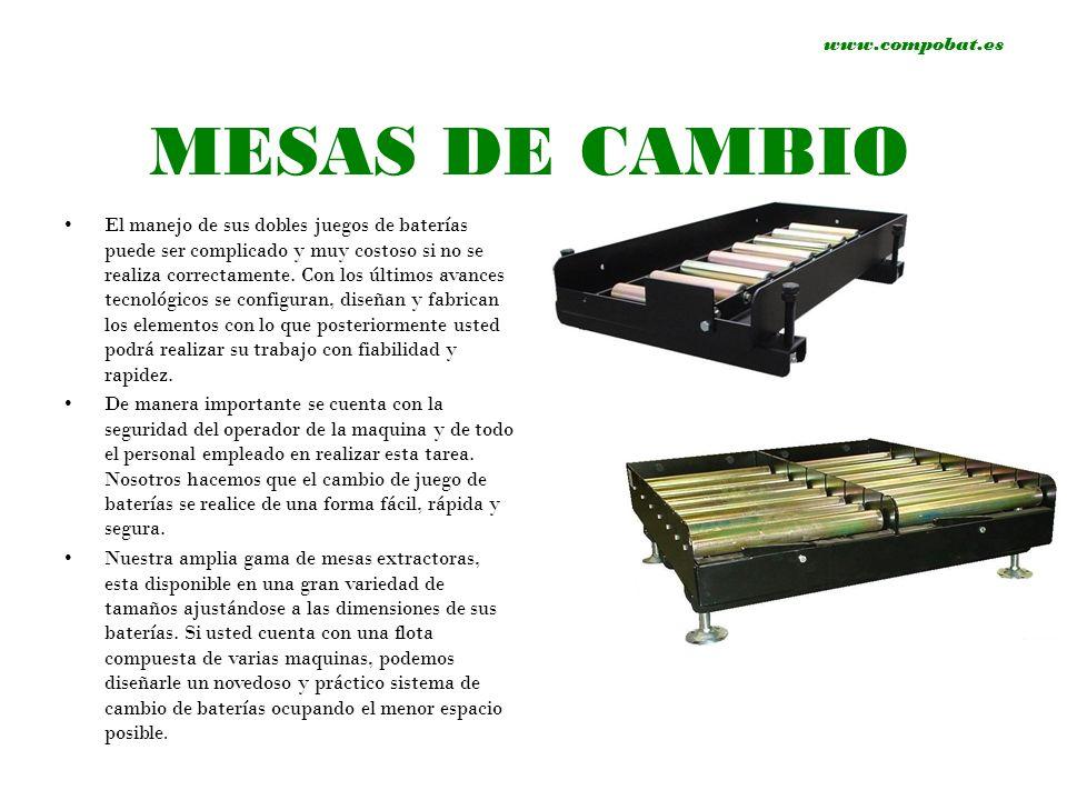 www.compobat.es MESAS DE CAMBIO El manejo de sus dobles juegos de baterías puede ser complicado y muy costoso si no se realiza correctamente. Con los