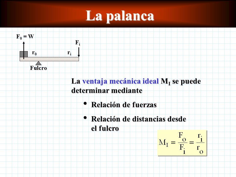 Ventaja mecánica La ventaja mecánica real M A de una máquina se define como la relación de fuerza de salida F o entre la fuerza de entrada F i : La ventaja mecánica ideal M I es la relación entre la distancia de entrada s i y la distancia de salida s o La eficiencia de una máquina simple se puede definir en términos de la ventaja mecánica: En la ausencia de fricción u otras pérdidas de energía, M i = M A.
