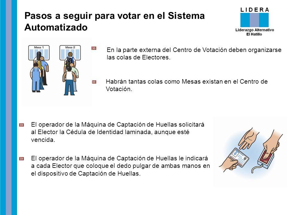 Pasos a seguir para votar en el Sistema Automatizado En la parte externa del Centro de Votación deben organizarse las colas de Electores. El operador
