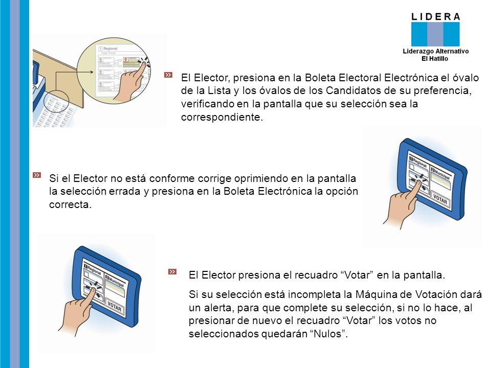 El Elector, presiona en la Boleta Electoral Electrónica el óvalo de la Lista y los óvalos de los Candidatos de su preferencia, verificando en la panta