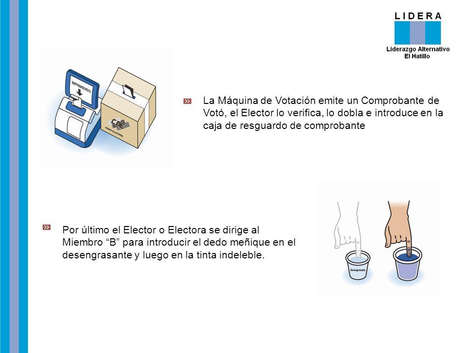 La Máquina de Votación emite un Comprobante de Votó, el Elector lo verifica, lo dobla e introduce en la caja de resguardo de comprobante Por último el