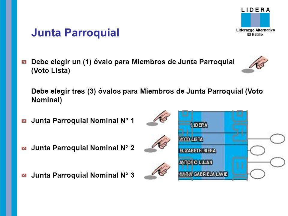 Debe elegir un (1) óvalo para Miembros de Junta Parroquial (Voto Lista) Debe elegir tres (3) óvalos para Miembros de Junta Parroquial (Voto Nominal) J