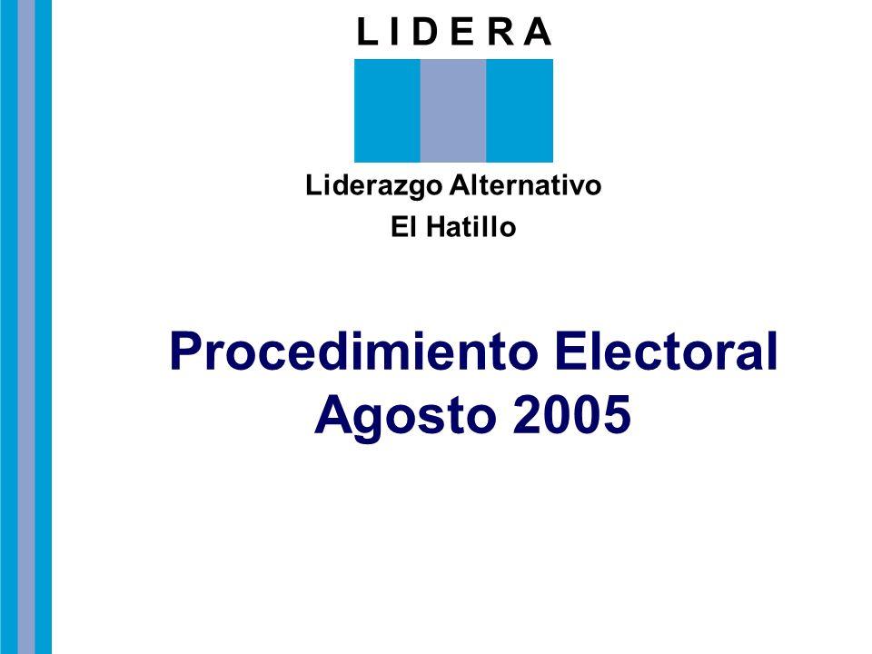 L I D E R A Liderazgo Alternativo El Hatillo Procedimiento Electoral Agosto 2005