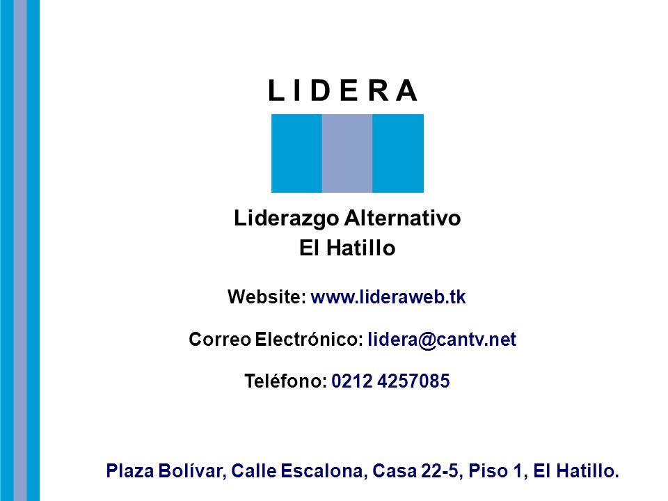 L I D E R A Liderazgo Alternativo El Hatillo Website: www.lideraweb.tk Correo Electrónico: lidera@cantv.net Teléfono: 0212 4257085 Plaza Bolívar, Call