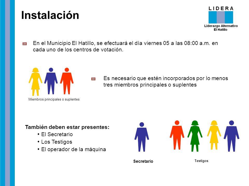 Instalación En el Municipio El Hatillo, se efectuará el día viernes 05 a las 08:00 a.m. en cada uno de los centros de votación. Es necesario que estén