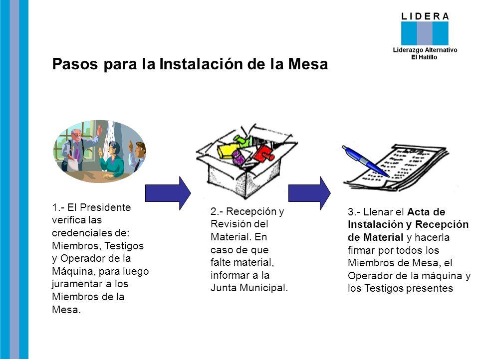 Pasos para la Instalación de la Mesa 1.- El Presidente verifica las credenciales de: Miembros, Testigos y Operador de la Máquina, para luego juramenta